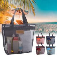 Mesh Beach Tote Bag Cosmetic Makeup Storage Organizer Pouch Handbag Travel