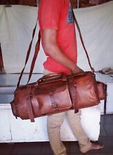 Duffle Gym Leather Genuine Travel Bag Men Vintage Luggage Overnight Weekend