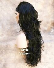Long Brown Black 3/4 Fall Long Wavy Half Wig Layered Hair Piece color #2
