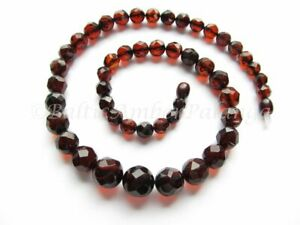 Luxury Baltic Amber Necklace, Cherry Color Faceted Round Beads