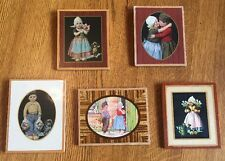 5 1940's Dutch Children Boy, Girl Kissing , Tulips, Dog Pictures, Wooden Backs