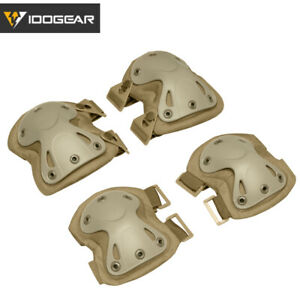 IDOGEAR Tactical Knee Pads & Elbow Pads Set Knee Protector Airsoft Military Camo