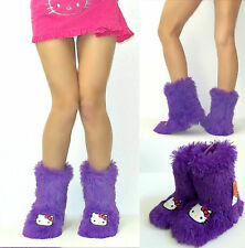 Women's Hello Kitty, Purple, Shag Boot Slippers, Cute, Warm And Comfy Size 5/6 S