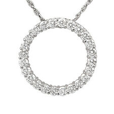 "1.50 Ct Circle Round Diamond Pendant Necklace 14k White Gold 16"" Chain Singapore"