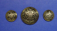 SET OF 3 RALPH LAUREN BLAZER DRK SILVER TONE REPLACEMENT BUTTONS GOOD USED COND,