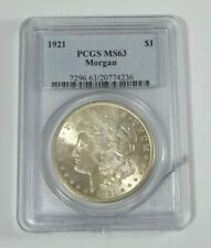 1921 MORGAN SILVER DOLLAR PCGS MS63 , HUGE DISCOUNT DUE TO ENCASING DMG!!