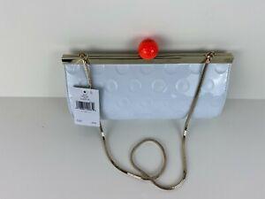 NWT Kate Spade NY On Par FLOREZ Golf Ball Clutch Shoulder Bag White Patent Purse
