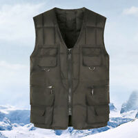 Mens Multi Pockets Vest Sleeveless Cotton Down Winter Thick Warm Jacket Solid N