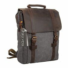 Vintage Canvas Backpack Men Genuine Leather Shoulder Travel Rucksack Laptop Bag