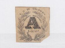 More details for colombia 1865 5c a registration stamp sgr42 mh (corner fault) jk1167