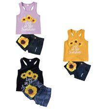 Kids Baby Sunflower Outfits Clothes Suit-Vest-Racerback-Tanks Top + Denim Shorts