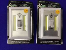 2 Pack Portable Battery Operated COB LED Switch Light Cordless w/ Batteries (E7)