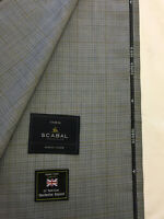 SCABAL Light Blue with Grey Check Super 150s All Wool Suit Fabric. 260g- 753051
