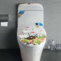 Underwater World Ship Toilet Seat Wall Sticker Removable Home Decor Waterproof D