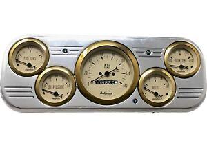 1937 1938 Chevy Car Dash Gauge Panel Cluster Set Gold