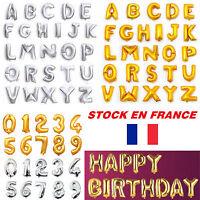 """Ballon Numéro Alphabet Lettre Anniversaire Mariage Fête Or/Argent 16""""/40"""""""