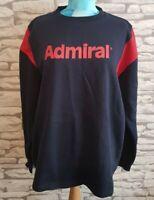 "Vtg Rare Admiral navy red Sweatshirt XL 44"" chest spellout retro casual street"