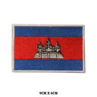 CAMBODIA National Flag Embroidered Patch Iron on Sew On Badge For Clothes etc
