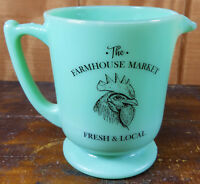 JADITE GREEN GLASS THE FARMHOUSE MARKET ROOSTER LOGO 4 CUP MEASURING CUP PITCHER