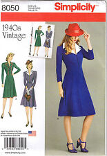 Vtg 40s Retro Dress Collar Simplicity Sewing Pattern 8050 Plus Sz 14 16 18 20 22