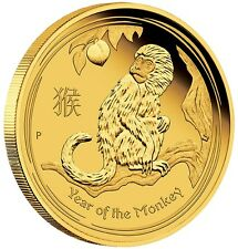 1/10 Ounce pure Gold coin by Perth Mint Lunar Series monkey 2016