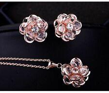 Set Joyas Collar Pendientes Rosa Dorado 18k Chapado Cristal IDEA DE REGALO