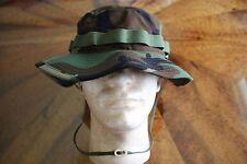 USN US NAVY WOODLAND BDU RIPSTOP CAMOFLAGE COMBAT FLOPPY HAT BOONIE CAP SZ 7 1/4