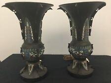 Antique chinese Cloisone big pair Urns Lamp