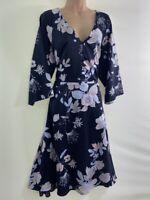 NEXT Navy blue oriental floral print silky satin fit & flare midi dress size 20