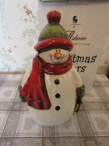 1810 Ltd. Ashmore Christmas Capers Contemporary Rotund Ceramic Snowman unused