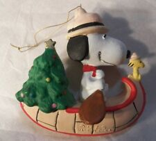 Vintage Snoopy Woodstock Paddling in Canoe Christmas Tree Scout Hat UFS Ornament