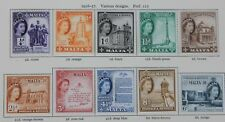 MALTA QEII 1956 Definitive set to £1 SG266-282 (17) Mint Top 6 MNH (1/6 to £1)