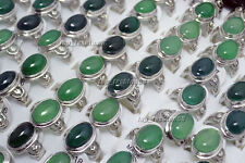 Wholesale Lots 5Pcs Green Natural Agate Semi-precious stones Rings FREE