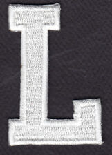 "LETTERS - WHITE BLOCK LETTER ""L"" (1 7/8"") - Iron On Embroidered Applique Patch"