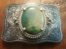 Silver Tone Western Belt Buckle with Turquoise colored Stone