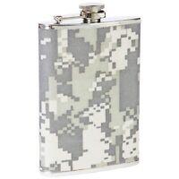 FLASK 8oz ACU Digital Camo Wrap Stainless Steel Hip Pocket Camouflage Liquor