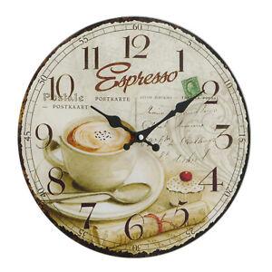 Wanduhr Bürouhr Küchenuhr mit  Espresso Motiv