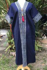 Women's Hmong Long Dress Cotton Bamboo pulp Handmade Thai Hill Tribe Free Size
