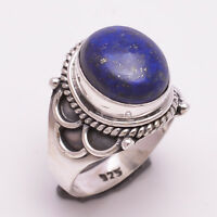 925 Solid Sterling Silver Ring, Natural Lapis Gemstone Handmade Jewelry R1286