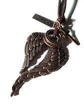 Lederkette Kette Engel Engelflügel Kreuz Damen braun bronze verstellbar 40-70 cm