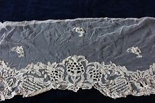 Exquisite Late 18thC Early 19thC Handmade Lace Flounce~Appliqué Net~Bridal
