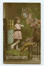 WWI ww1 First World War One First SENTIMENT GIRL Thinks of Daddy photo postcard