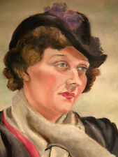 Vintage Oil on Canvas, Lady with Scarf and Hat, 1940's