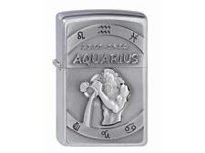 "ZIPPO ""AQUARIUS"" EMBLEM BRUSHED CHROME LIGHTER / 2002070 ** NEW in BOX ** ZODIAC"