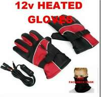 12V Motorcycle Riding Heated Waterproof Gloves + Free Face/Neck Mask