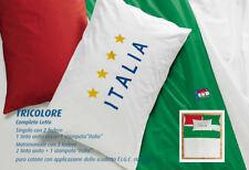 Completo Lenzuola FIGC Italia Tricolore Doppia Federe Una piazza Cotone Zucchi