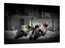 Valentino Rossi & Marco Simoncelli 30x20 Inch Canvas - MotoGP Framed Picture