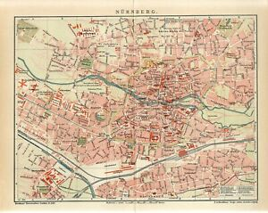 1904 GERMANY NUREMBERG CITY PLAN Antique Map dated