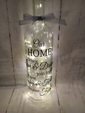 Beautiful Light Up Wine Bottle With Our Home Quote