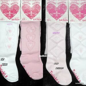 SOFT TOUCH BABY GIRL TIGHTS-PINK WHITE-0/12 MONTH-DIAMOND & HEART EMBROIDERY-NEW